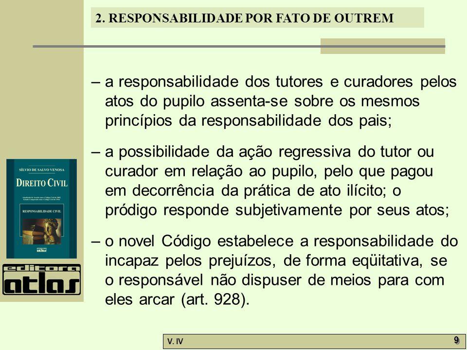 2. RESPONSABILIDADE POR FATO DE OUTREM V. IV 9 9 – a responsabilidade dos tutores e curadores pelos atos do pupilo assenta-se sobre os mesmos princípi