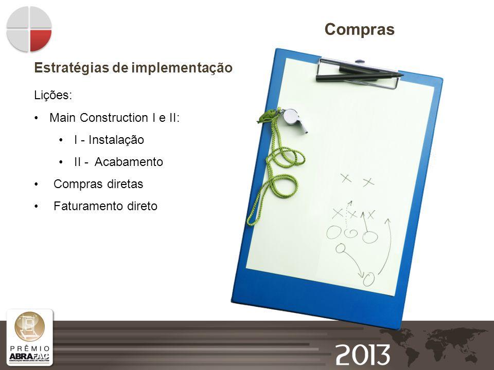Compras Estratégias de implementação Lições: Main Construction I e II: I - Instalação II - Acabamento Compras diretas Faturamento direto