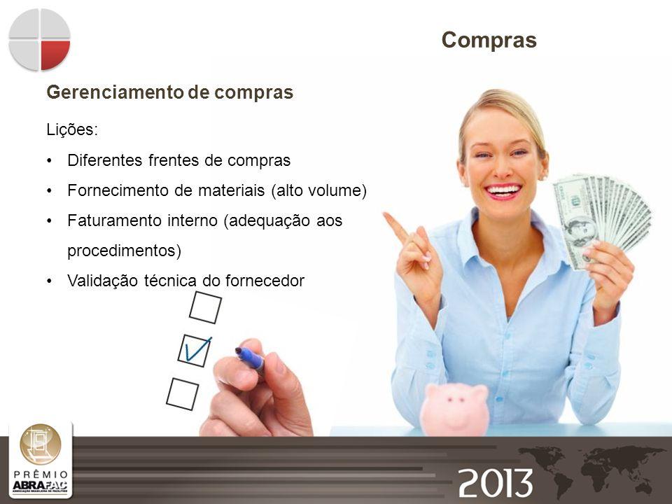 Compras Gerenciamento de compras Lições: Diferentes frentes de compras Fornecimento de materiais (alto volume) Faturamento interno (adequação aos proc