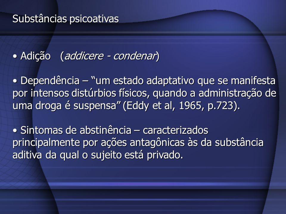 Substâncias psicoativas Adição (addicere - condenar) Adição (addicere - condenar) Dependência – um estado adaptativo que se manifesta por intensos dis