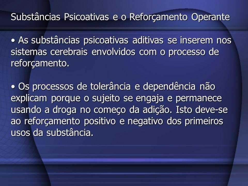 Substâncias Psicoativas e o Reforçamento Operante As substâncias psicoativas aditivas se inserem nos sistemas cerebrais envolvidos com o processo de r