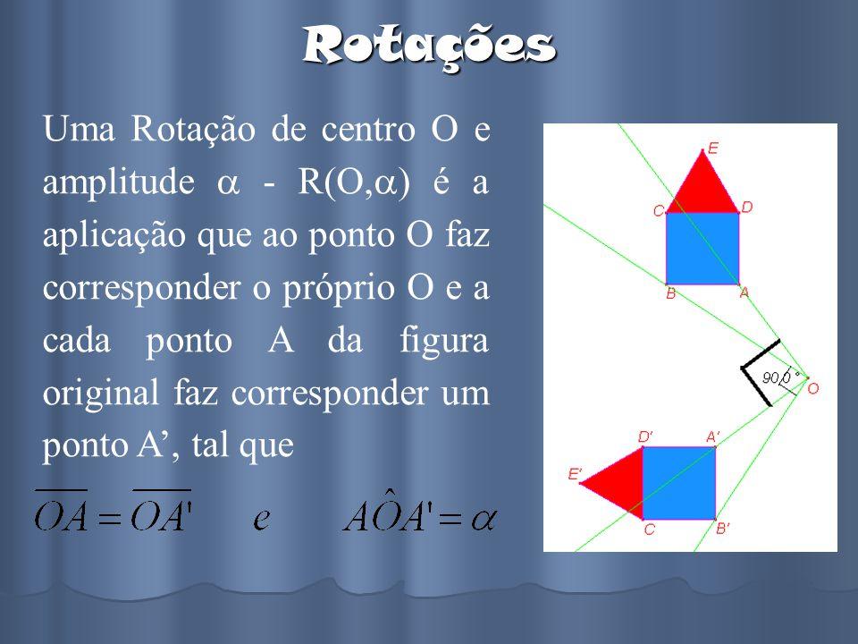 Rotações Uma Rotação de centro O e amplitude - R(O, ) é a aplicação que ao ponto O faz corresponder o próprio O e a cada ponto A da figura original fa