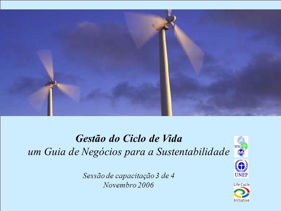 1 Gestão do Ciclo de Vida um Guia de Negócios para a Sustentabilidade Sessão de capacitação 3 de 4 Novembro 2006