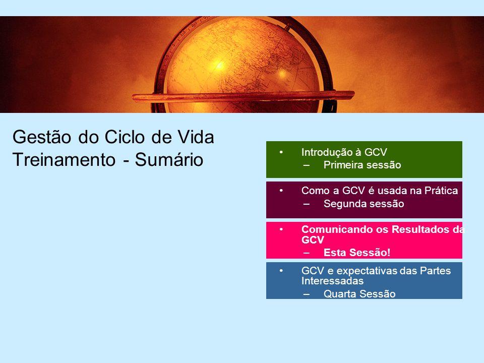 2 2 Gestão do Ciclo de Vida Treinamento - Sumário Introdução à GCV –Primeira sessão Como a GCV é usada na Prática –Segunda sessão Comunicando os Resultados da GCV –Esta Sessão.