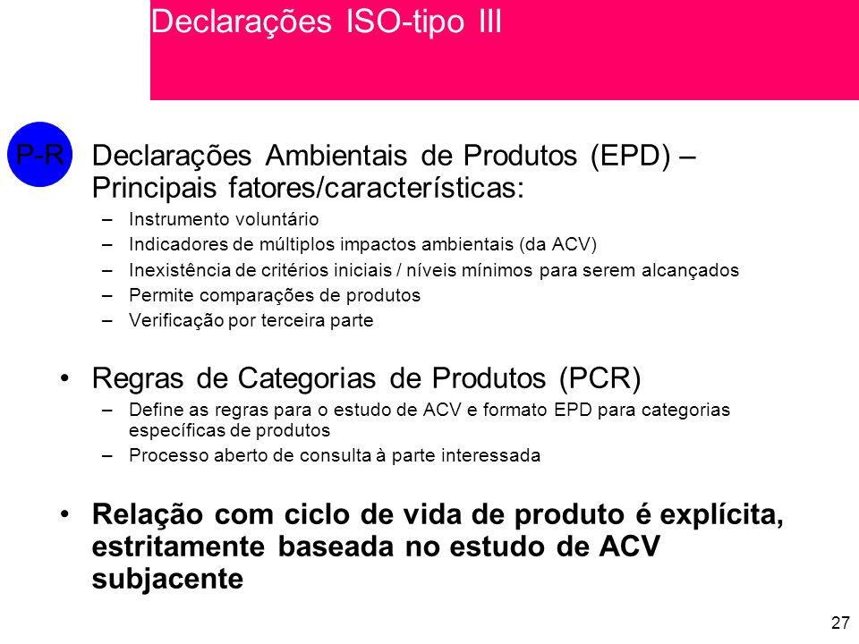 27 Declarações Ambientais de Produtos (EPD) – Principais fatores/características: –Instrumento voluntário –Indicadores de múltiplos impactos ambientais (da ACV) –Inexistência de critérios iniciais / níveis mínimos para serem alcançados –Permite comparações de produtos –Verificação por terceira parte Regras de Categorias de Produtos (PCR) –Define as regras para o estudo de ACV e formato EPD para categorias específicas de produtos –Processo aberto de consulta à parte interessada Relação com ciclo de vida de produto é explícita, estritamente baseada no estudo de ACV subjacente P-R Declarações ISO-tipo III