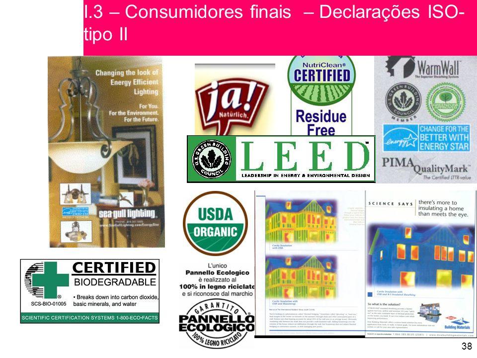 38 I.3 – Consumidores finais – Declarações ISO- tipo II