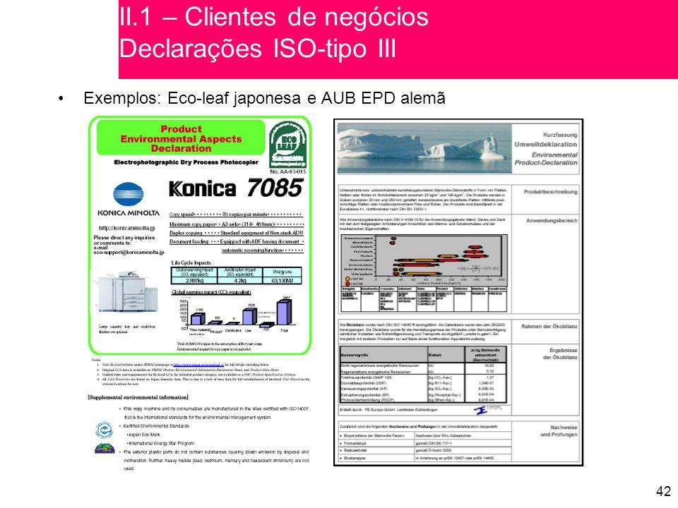 42 Exemplos: Eco-leaf japonesa e AUB EPD alemã II.1 – Clientes de negócios Declarações ISO-tipo III