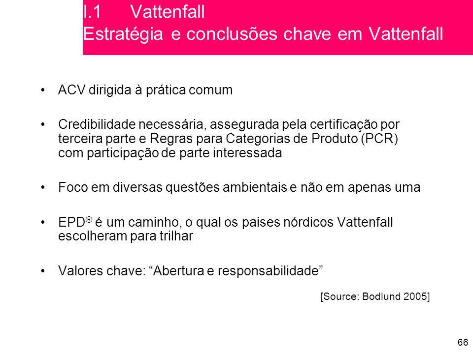 66 ACV dirigida à prática comum Credibilidade necessária, assegurada pela certificação por terceira parte e Regras para Categorias de Produto (PCR) com participação de parte interessada Foco em diversas questões ambientais e não em apenas uma EPD ® é um caminho, o qual os paises nórdicos Vattenfall escolheram para trilhar Valores chave: Abertura e responsabilidade [Source: Bodlund 2005] I.1Vattenfall Estratégia e conclusões chave em Vattenfall