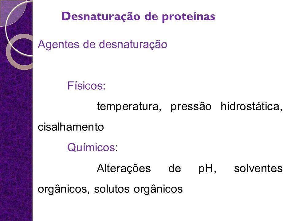 Agentes de desnaturação Físicos: temperatura, pressão hidrostática, cisalhamento Químicos: Alterações de pH, solventes orgânicos, solutos orgânicos De