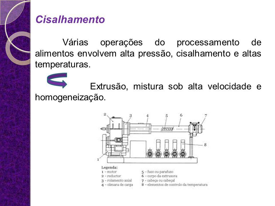 Cisalhamento Várias operações do processamento de alimentos envolvem alta pressão, cisalhamento e altas temperaturas. Extrusão, mistura sob alta veloc