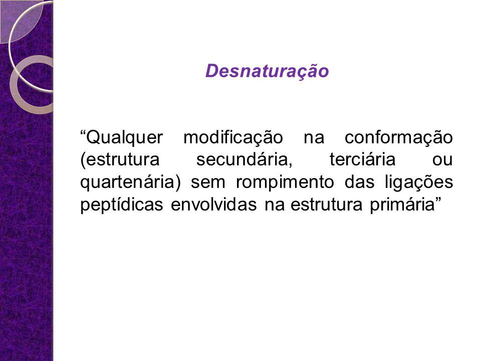 Desnaturação Qualquer modificação na conformação (estrutura secundária, terciária ou quartenária) sem rompimento das ligações peptídicas envolvidas na