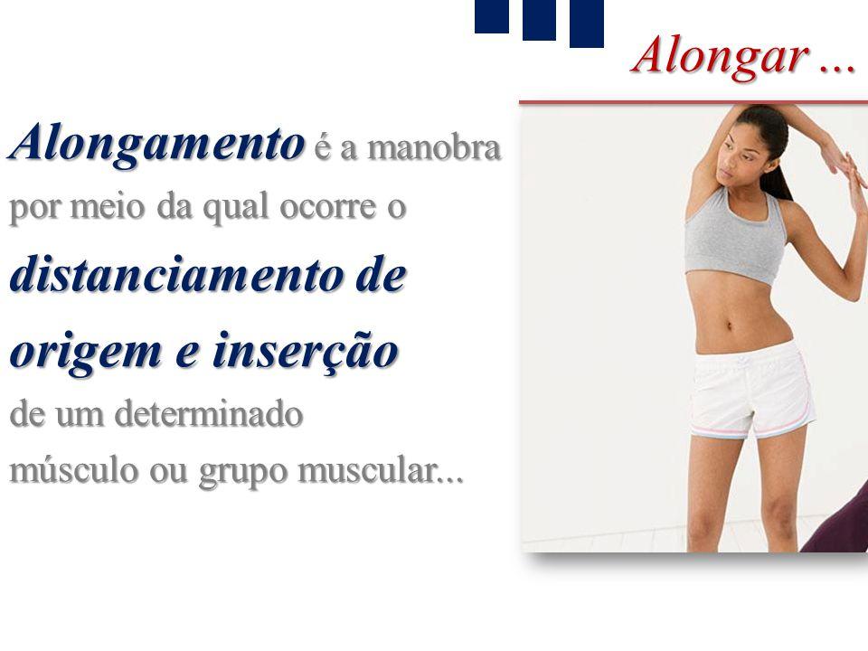 Alongar... Alongamento é a manobra por meio da qual ocorre o distanciamento de origem e inserção de um determinado músculo ou grupo muscular...