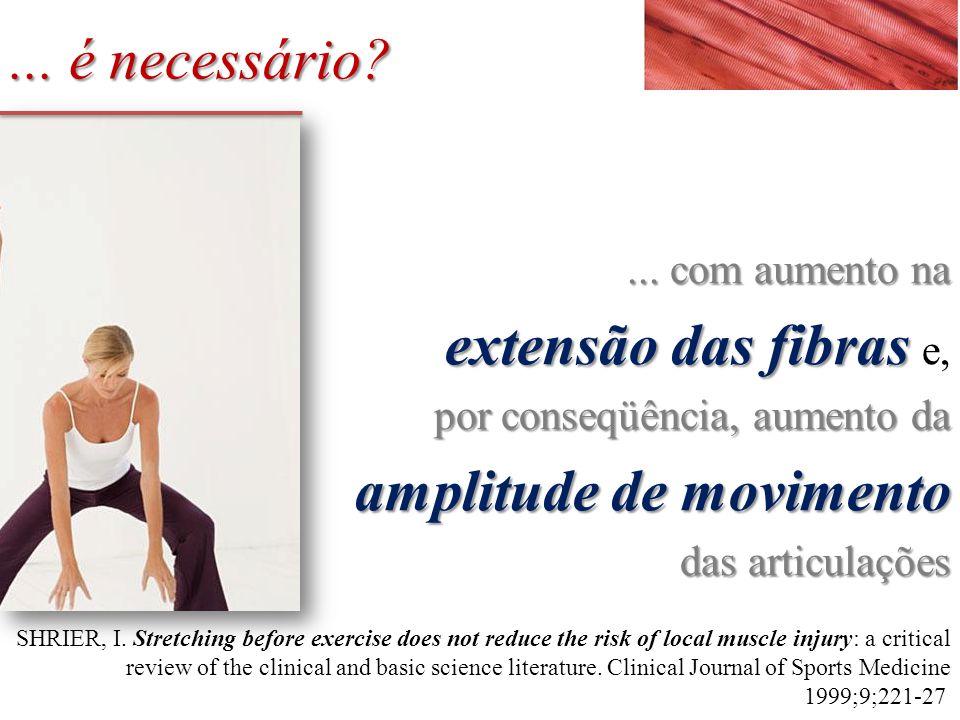 ... com aumento na extensão das fibras extensão das fibras e, por conseqüência, aumento da amplitude de movimento das articulações SHRIER, I. Stretchi