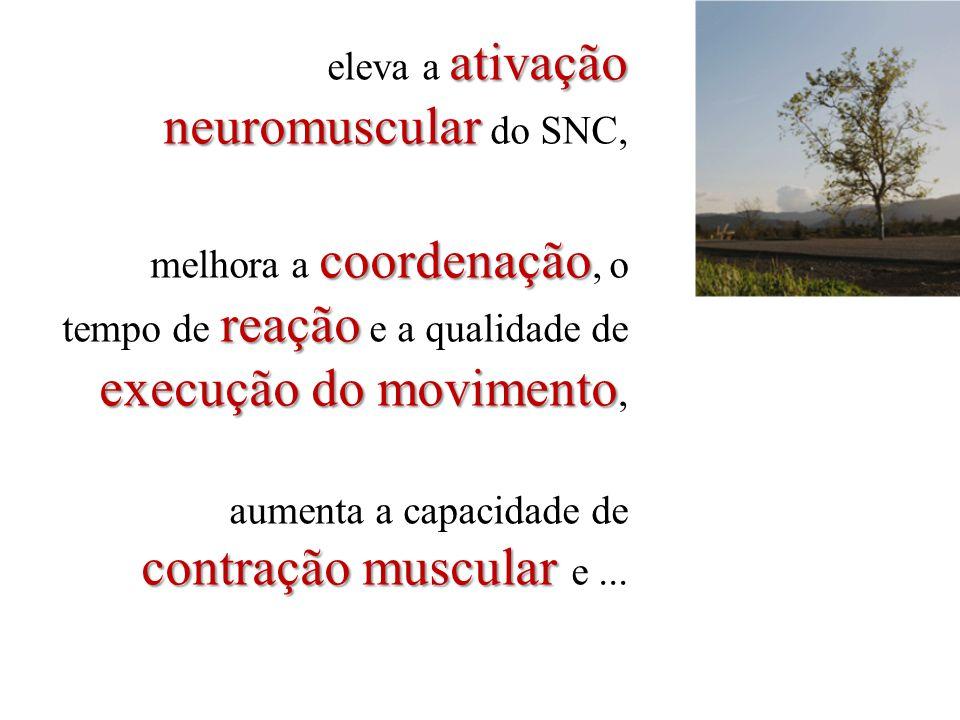 ativação neuromuscular eleva a ativação neuromuscular do SNC, coordenação reação execução do movimento melhora a coordenação, o tempo de reação e a qu