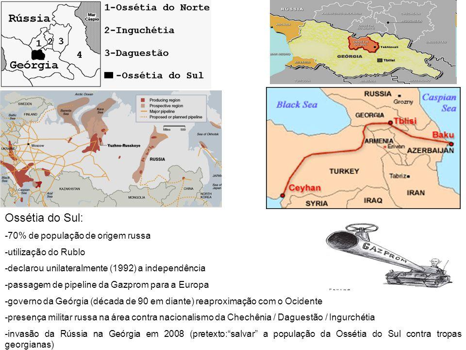 Ossétia do Sul: -70% de população de origem russa -utilização do Rublo -declarou unilateralmente (1992) a independência -passagem de pipeline da Gazpr