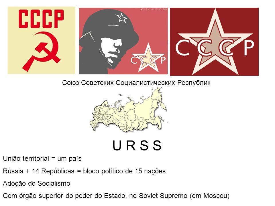 Союз Советских Социалистических Республик U R S S União territorial = um país Rússia + 14 Repúblicas = bloco político de 15 nações Adoção do Socialism