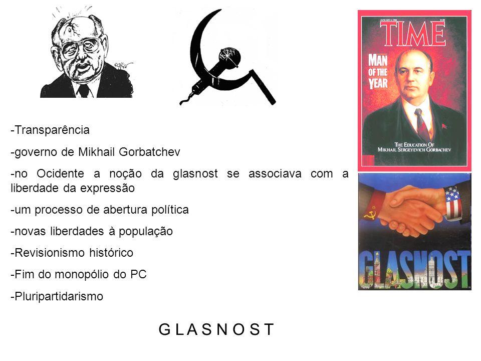 -Transparência -governo de Mikhail Gorbatchev -no Ocidente a noção da glasnost se associava com a liberdade da expressão -um processo de abertura polí