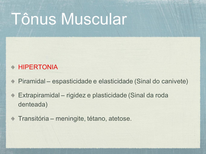 Tônus Muscular HIPERTONIA Piramidal – espasticidade e elasticidade (Sinal do canivete) Extrapiramidal – rigidez e plasticidade (Sinal da roda denteada