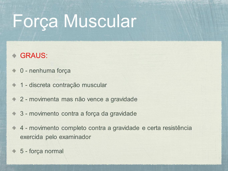 Força Muscular GRAUS: 0 - nenhuma força 1 - discreta contração muscular 2 - movimenta mas não vence a gravidade 3 - movimento contra a força da gravid