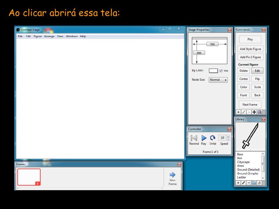 Essa é a tela principal, onde você criará cada slide: Dica: caso queira utilizar um cenário de fundo, já inicie o primeiro slide com ele, pois o programa irá conduzi-lo para o próximo slide.