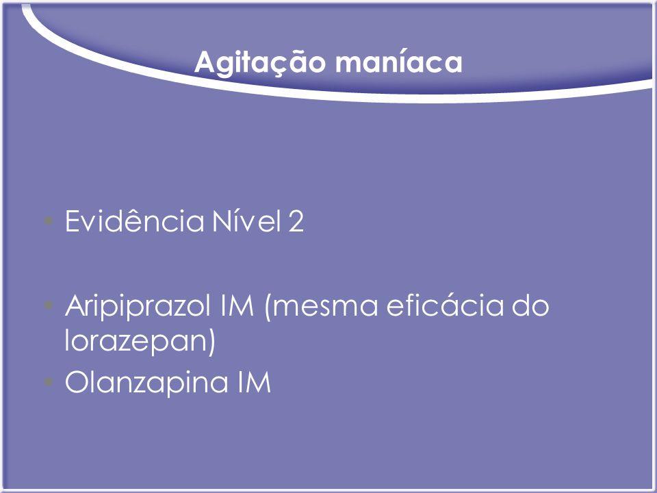 Agitação maníaca Evidência Nível 2 Aripiprazol IM (mesma eficácia do lorazepan) Olanzapina IM