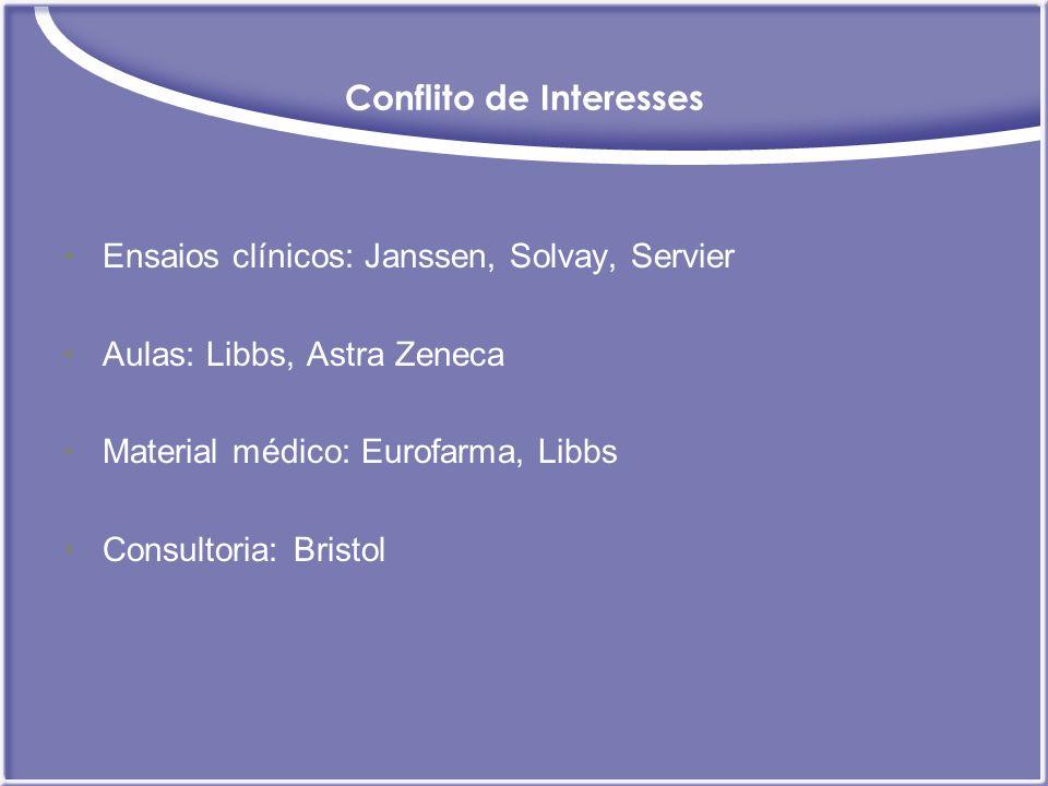 Conflito de Interesses Ensaios clínicos: Janssen, Solvay, Servier Aulas: Libbs, Astra Zeneca Material médico: Eurofarma, Libbs Consultoria: Bristol