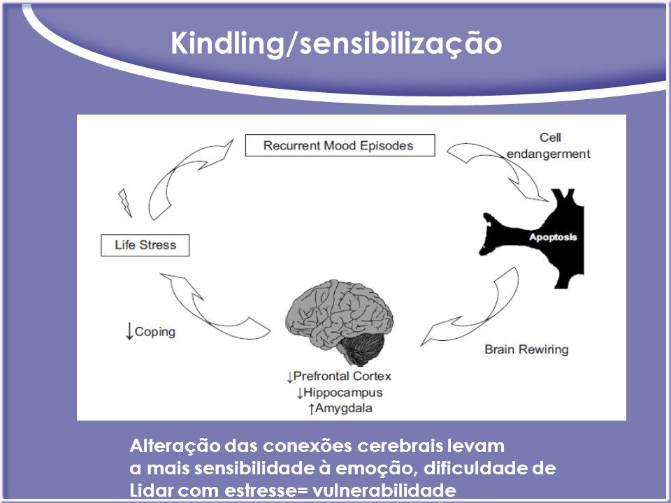 Kindling/sensibilização Alteração das conexões cerebrais levam a mais sensibilidade à emoção, dificuldade de Lidar com estresse= vulnerabilidade