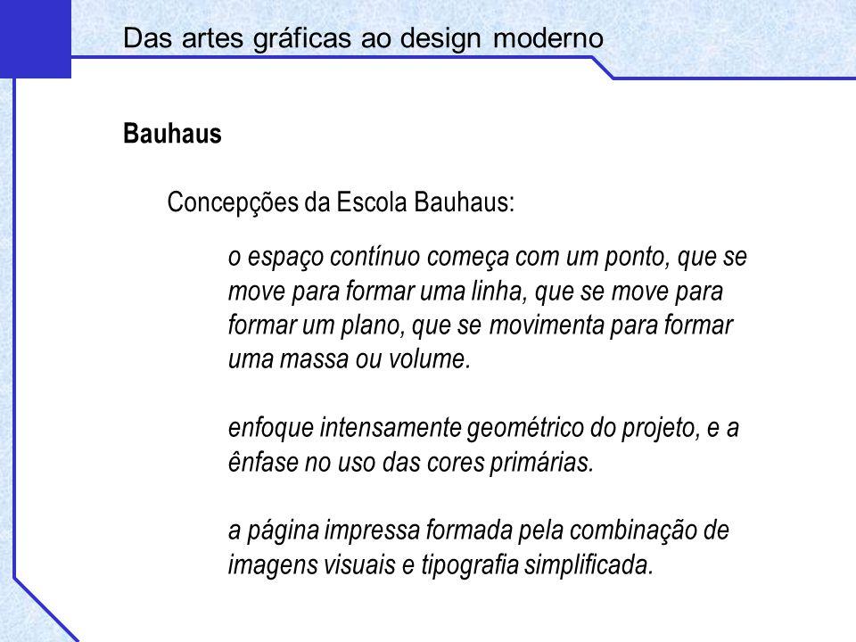 Concepções da Escola Bauhaus: Bauhaus o espaço contínuo começa com um ponto, que se move para formar uma linha, que se move para formar um plano, que se movimenta para formar uma massa ou volume.