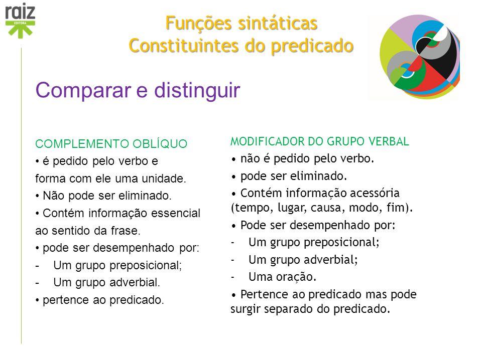 Funções sintáticas Constituintes do predicado Comparar e distinguir COMPLEMENTO OBLÍQUO é pedido pelo verbo e forma com ele uma unidade. Não pode ser