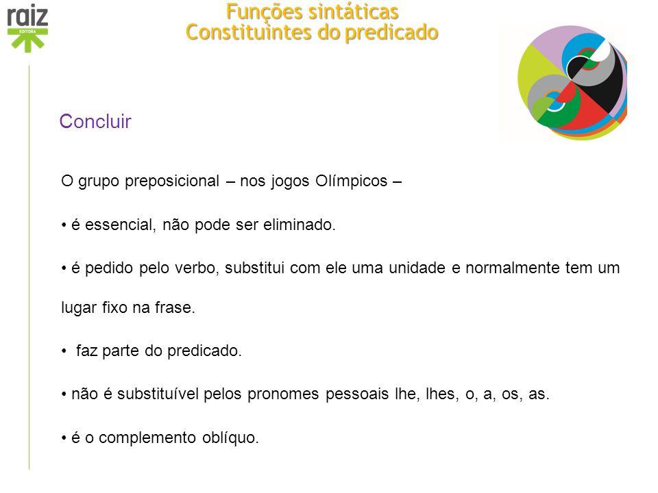 Concluir O grupo preposicional – nos jogos Olímpicos – é essencial, não pode ser eliminado. é pedido pelo verbo, substitui com ele uma unidade e norma