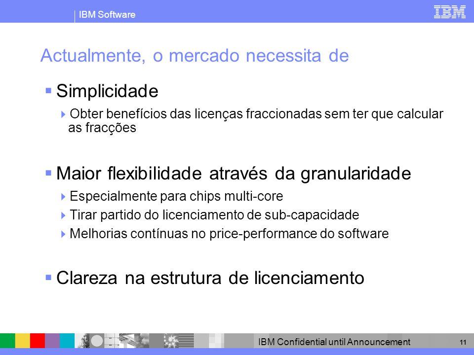 IBM Software IBM Confidential until Announcement 11 Actualmente, o mercado necessita de Simplicidade Obter benefícios das licenças fraccionadas sem te