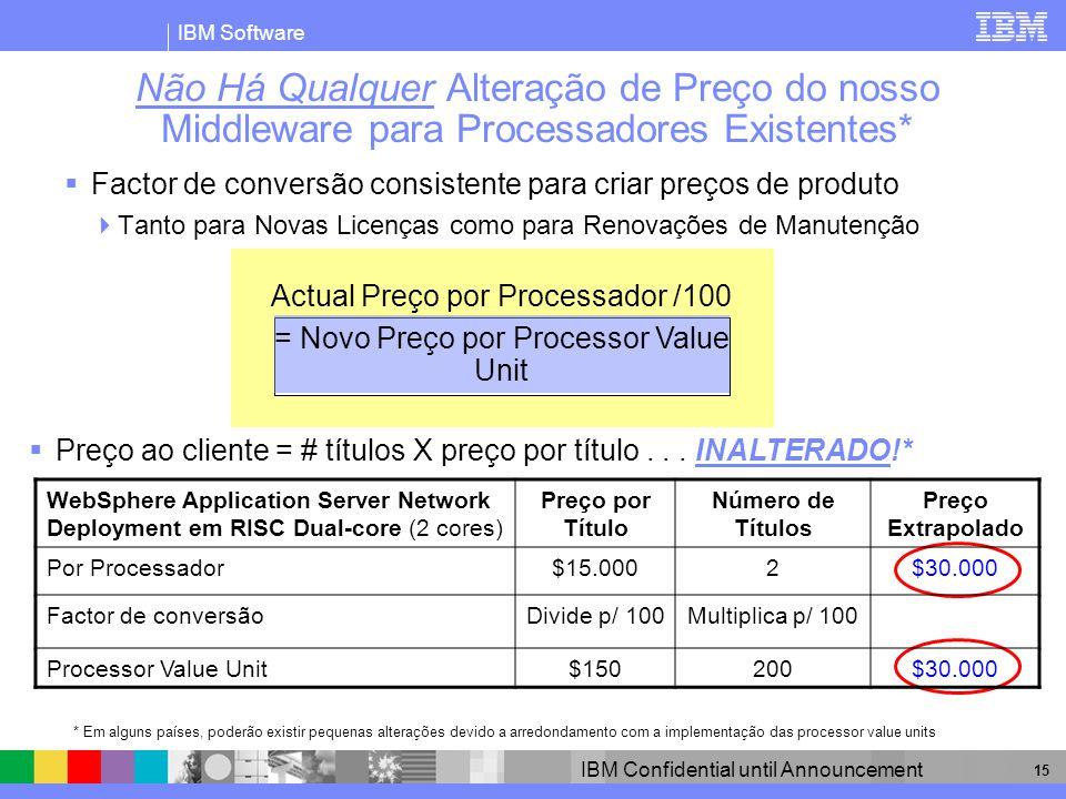 IBM Software IBM Confidential until Announcement 15 Não Há Qualquer Alteração de Preço do nosso Middleware para Processadores Existentes* Factor de co