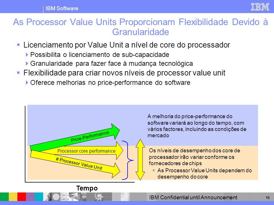 IBM Software IBM Confidential until Announcement 16 As Processor Value Units Proporcionam Flexibilidade Devido à Granularidade Licenciamento por Value