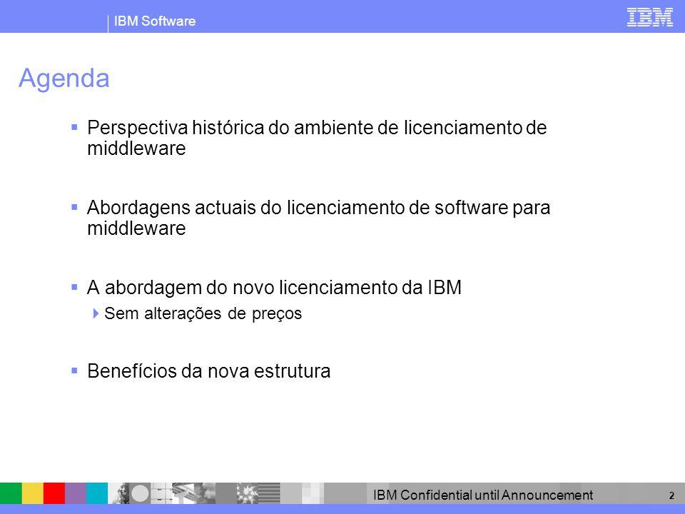 IBM Software IBM Confidential until Announcement 3 O middleware é licenciado de duas formas principais Em geral, hoje predominam dois modelos de licenciamento: Por Utilizador 1 licença por utilizador 20 utilizadores = 20 licenças Por Processador Historicamente, 1 licença p/ processador 4 cores proc.