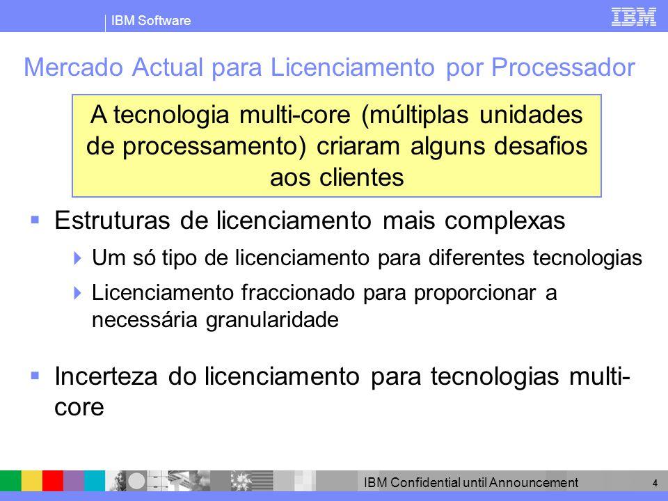 IBM Software IBM Confidential until Announcement 4 Mercado Actual para Licenciamento por Processador Estruturas de licenciamento mais complexas Um só