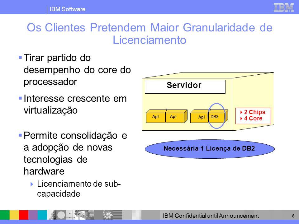 IBM Software IBM Confidential until Announcement 8 Os Clientes Pretendem Maior Granularidade de Licenciamento Tirar partido do desempenho do core do p