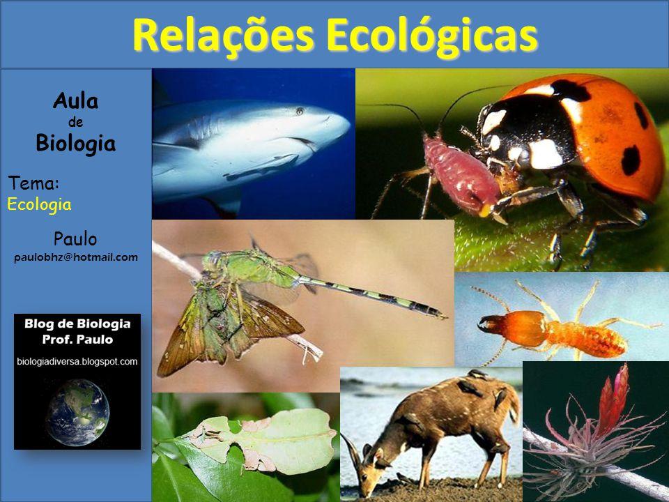 1) Introdução A interação dos diversos organismos que constituem uma comunidade biológica são genericamente denominadas relações ecológicas, e costumam ser classificadas pelos biólogos em intra-específicas, interespecíficas, harmônicas e desarmônicas.