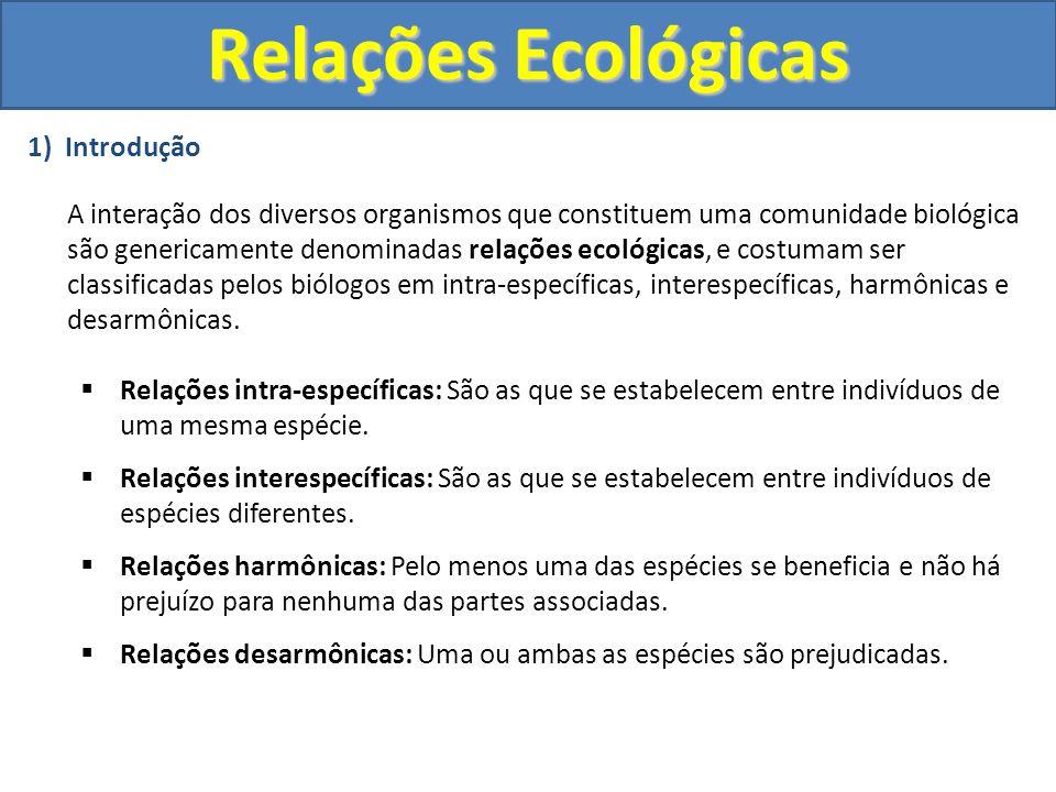 2) Resumo Relações Harmônicas Intra-EspecíficaColônias Sociedades Interespecífica Mutualismo Protocooperação Comensalismo Relações Desarmônicas Intra-EspecíficaCompetição intra-específica Canibalismo Interespecífica Competição interespecífica Predatismo Parasitismo Amensalismo Esclavagismo Relações Ecológicas