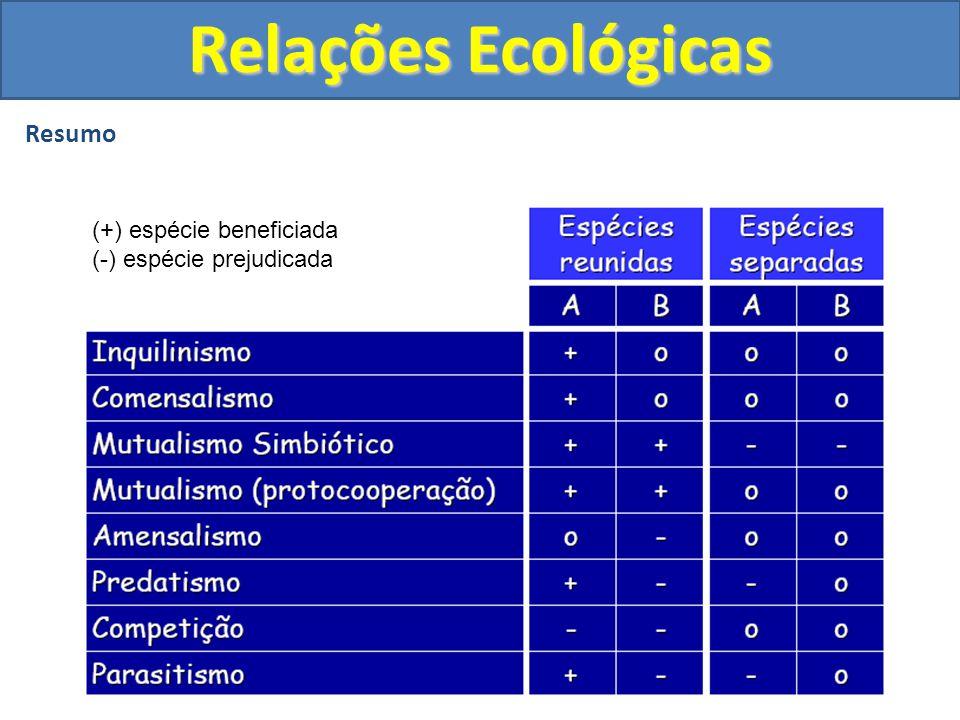 Resumo Relações Ecológicas (+) espécie beneficiada (-) espécie prejudicada