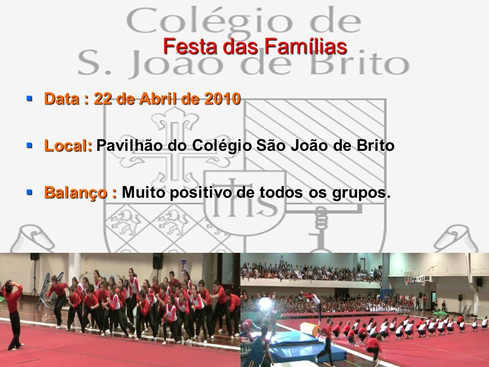 12 Festa das Famílias Festa das Famílias Data : 22 de Abril de 2010 Data : 22 de Abril de 2010 Local: Pavilhão do Colégio São João de Brito Local: Pav
