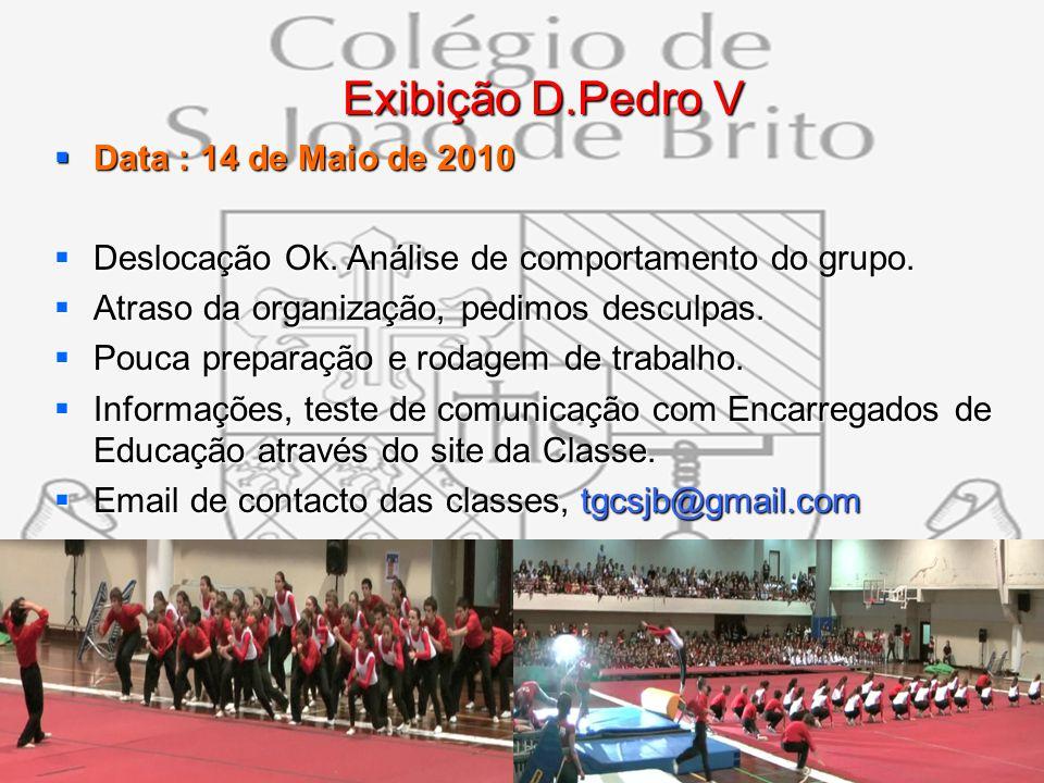 13 Exibição D.Pedro V Exibição D.Pedro V Data : 14 de Maio de 2010 Data : 14 de Maio de 2010 Deslocação Ok. Análise de comportamento do grupo. Desloca