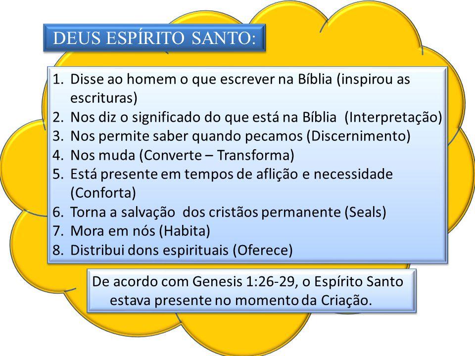 vertidos DEUS ESPÍRITO SANTO: 1.Disse ao homem o que escrever na Bíblia (inspirou as escrituras) 2.Nos diz o significado do que está na Bíblia (Interp