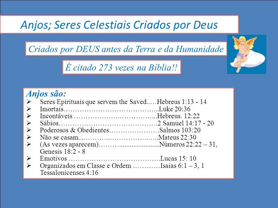 É citado 273 vezes na Bíblia!! Anjos são: Seres Epirituais que servem the Saved..…Hebreus 1:13 - 14 Imortais…………………………………...Luke 20:36 Incontáveis ………