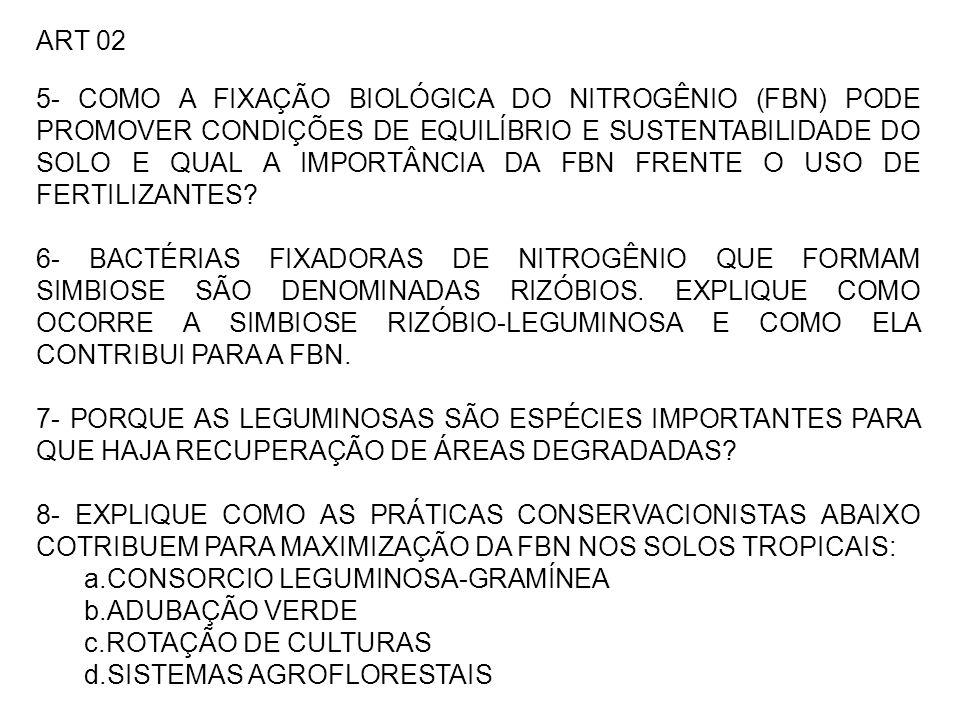 ART 02 5- COMO A FIXAÇÃO BIOLÓGICA DO NITROGÊNIO (FBN) PODE PROMOVER CONDIÇÕES DE EQUILÍBRIO E SUSTENTABILIDADE DO SOLO E QUAL A IMPORTÂNCIA DA FBN FRENTE O USO DE FERTILIZANTES.