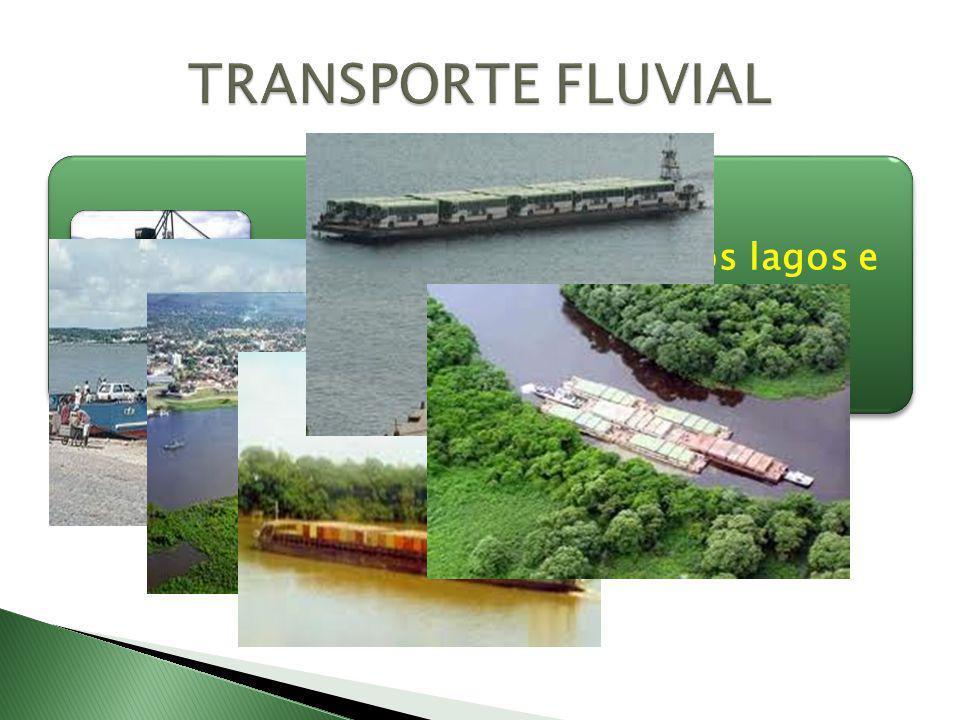 O transporte fluvial usa os lagos e rios.transporte fluvial