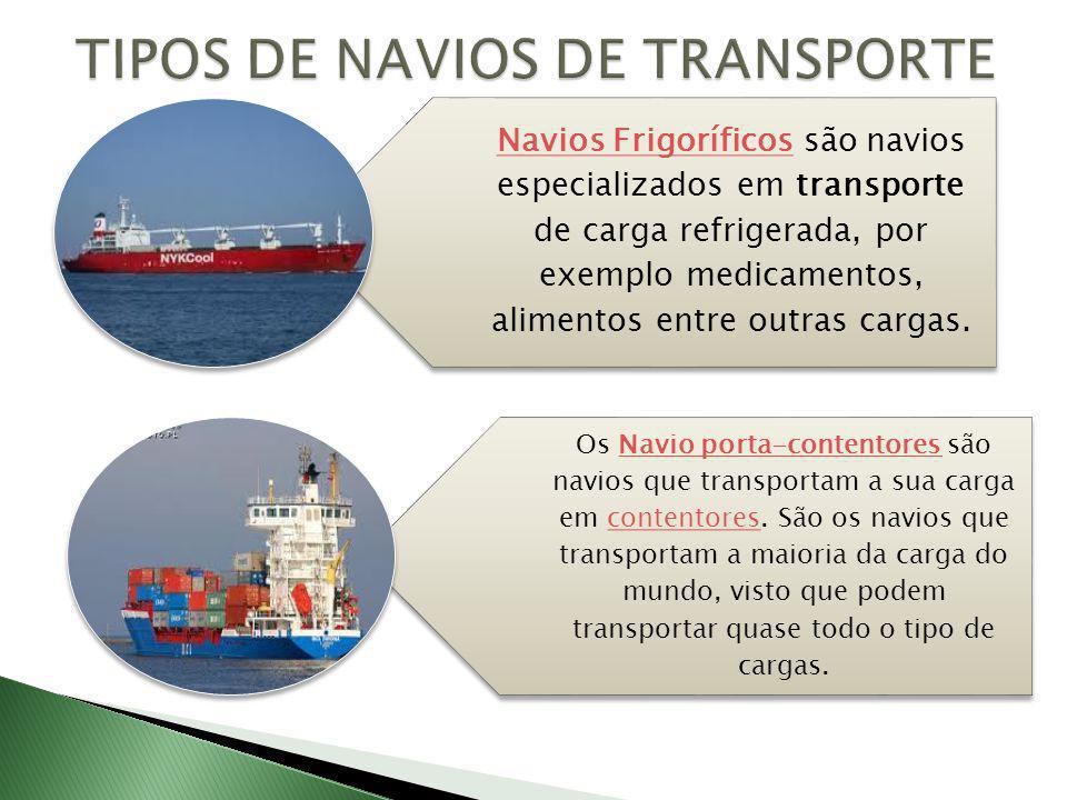 Navios FrigoríficosNavios Frigoríficos são navios especializados em transporte de carga refrigerada, por exemplo medicamentos, alimentos entre outras cargas.