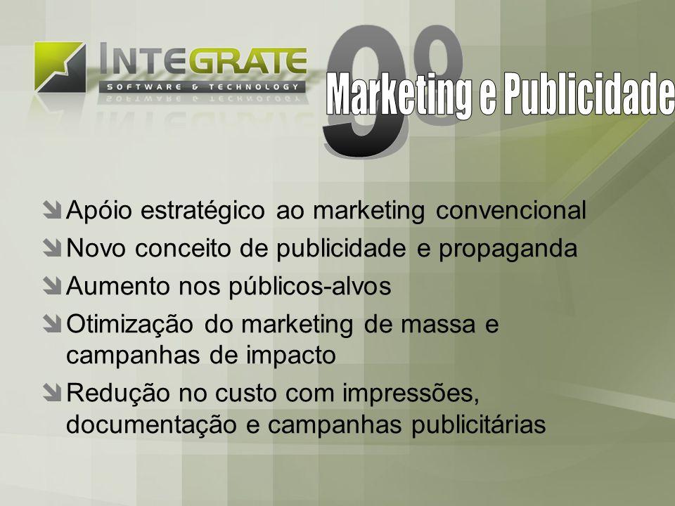 Apóio estratégico ao marketing convencional Novo conceito de publicidade e propaganda Aumento nos públicos-alvos Otimização do marketing de massa e campanhas de impacto Redução no custo com impressões, documentação e campanhas publicitárias
