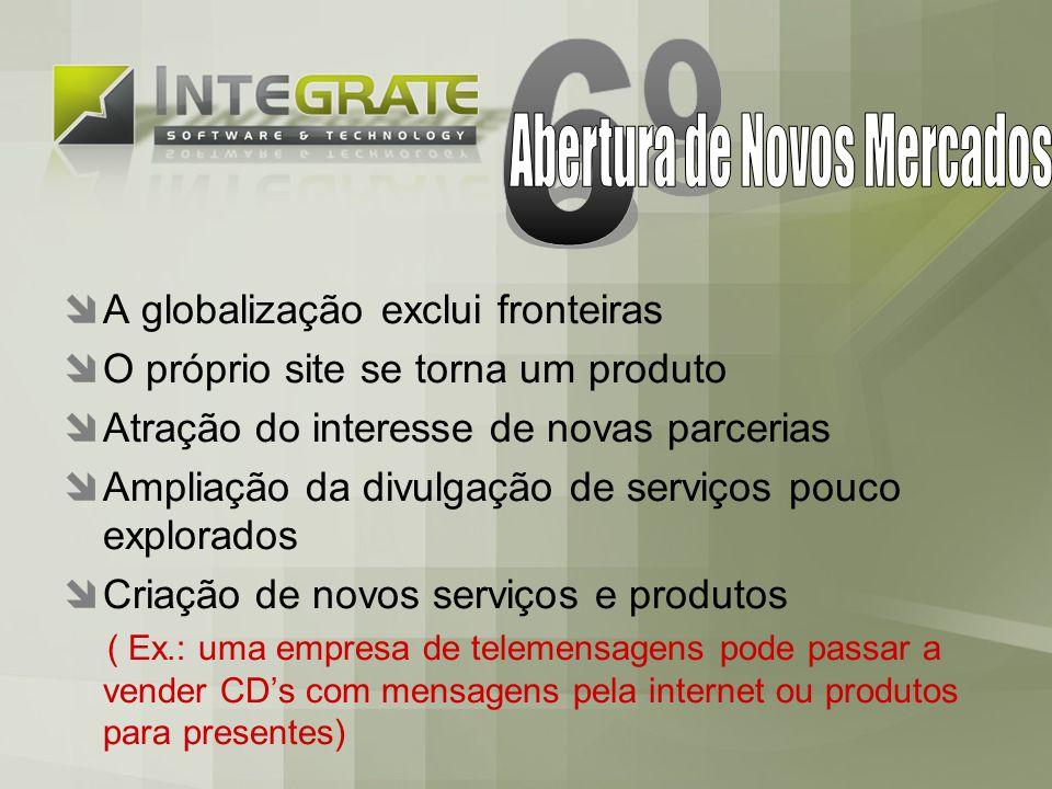 A globalização exclui fronteiras O próprio site se torna um produto Atração do interesse de novas parcerias Ampliação da divulgação de serviços pouco