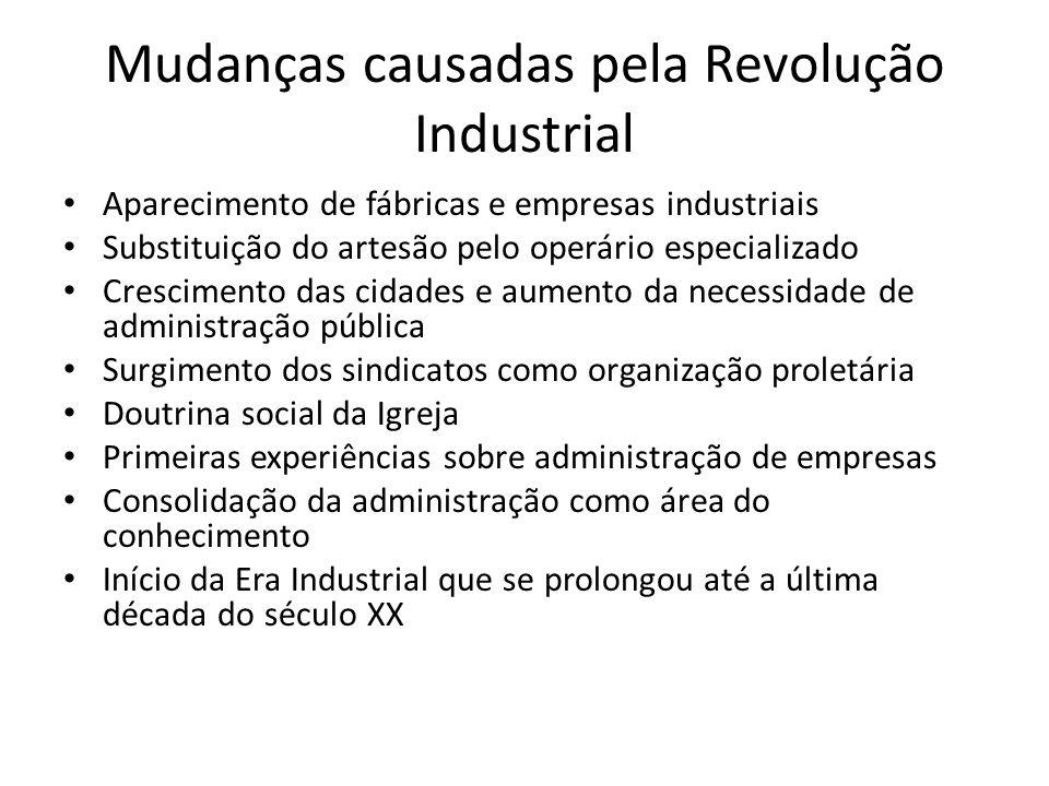Mudanças causadas pela Revolução Industrial Aparecimento de fábricas e empresas industriais Substituição do artesão pelo operário especializado Cresci