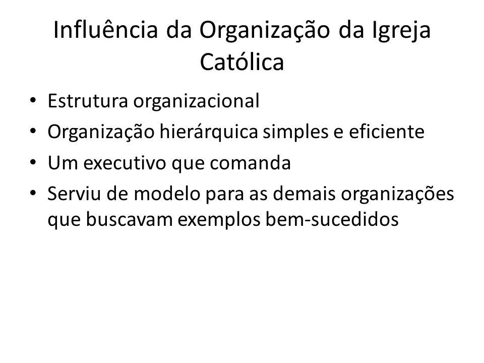 Influência da Organização da Igreja Católica Estrutura organizacional Organização hierárquica simples e eficiente Um executivo que comanda Serviu de m